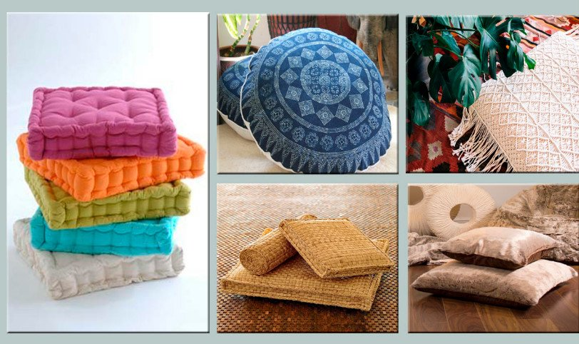 Unusual Country Furniture With Their Hands: Use Fabric. Floor Pillows.