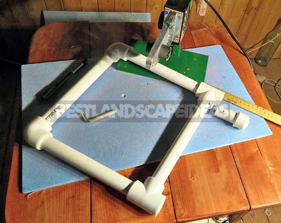 Folding Stool Made Of Board And Polypropylene Pipes