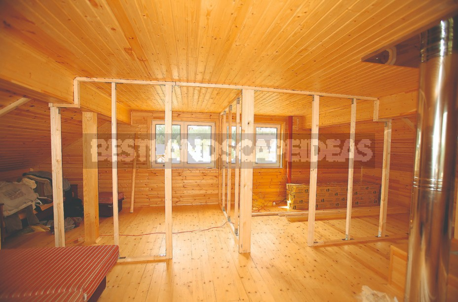 Interior Partition On a Wooden Frame